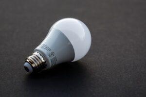 led bulb on a table