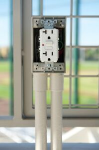 A GFCI outlet installed in a home