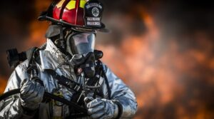 A firefighter wearing protective gear