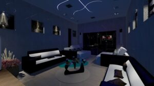 Living room with sofas, center table, and LED light fixtures on the ceiling