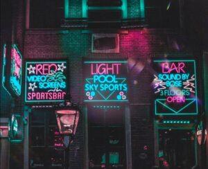 LED signs outside bars