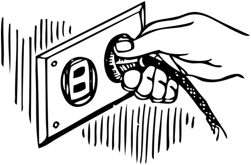 An illustration of a person plugging a switch in the socket.
